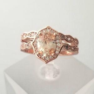 Antique Style Rose Gold Ring Set
